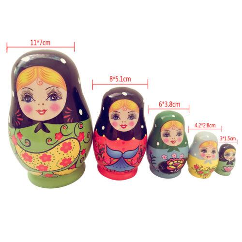 5PCS Painted Girls Russian Nesting Dolls Babushka Matryoshka Kids Toys