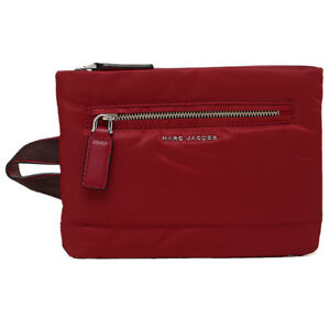d04d3a591c89 Marc Jacobs Mallorca Flat Red Nylon Leather Slim Zip Cosmetic Travel ...