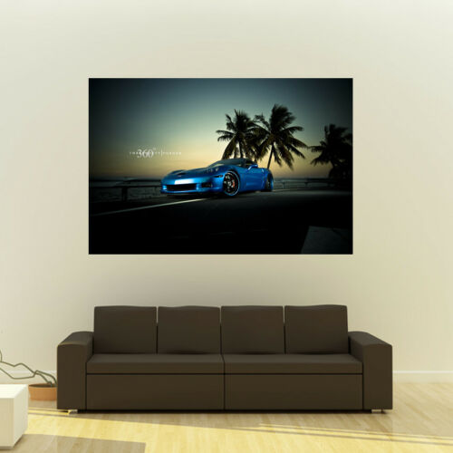 Chevy C6 Corvette Z06 on 360 Forged wheels Poster Huge 54x36 Inch Print 137x91cm