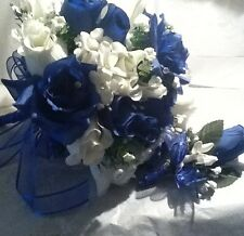 Bridesmaids Wedding Bouquet Royal Blue and Ivory Foam Roses With ...