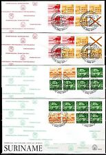 Suriname - 1978 Definitives airmail booklets - Mi. H-Blatt 3-6 clean FDC's
