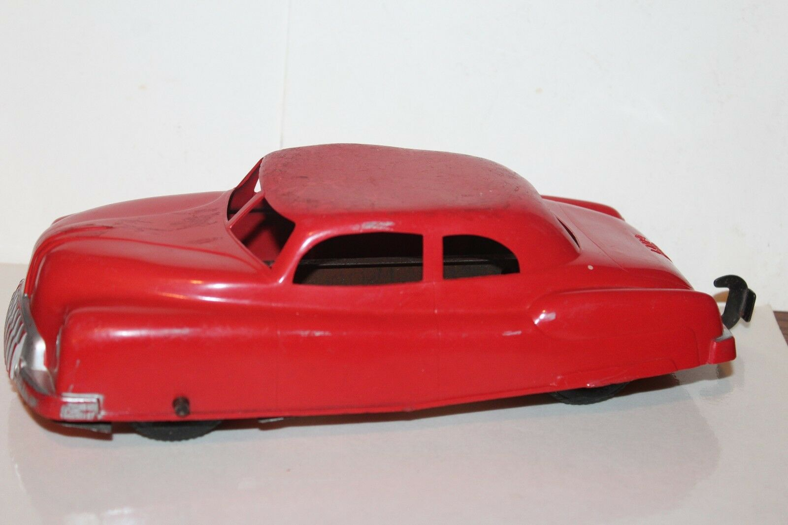 Muy buen Vintage Rojo 1950s Marx  distancia de frenado  Coche  inusual