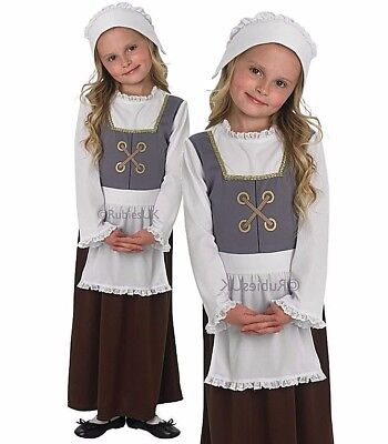 Enfant tudor fille fantaisie robe costume maid world book day victorian ages 3-8