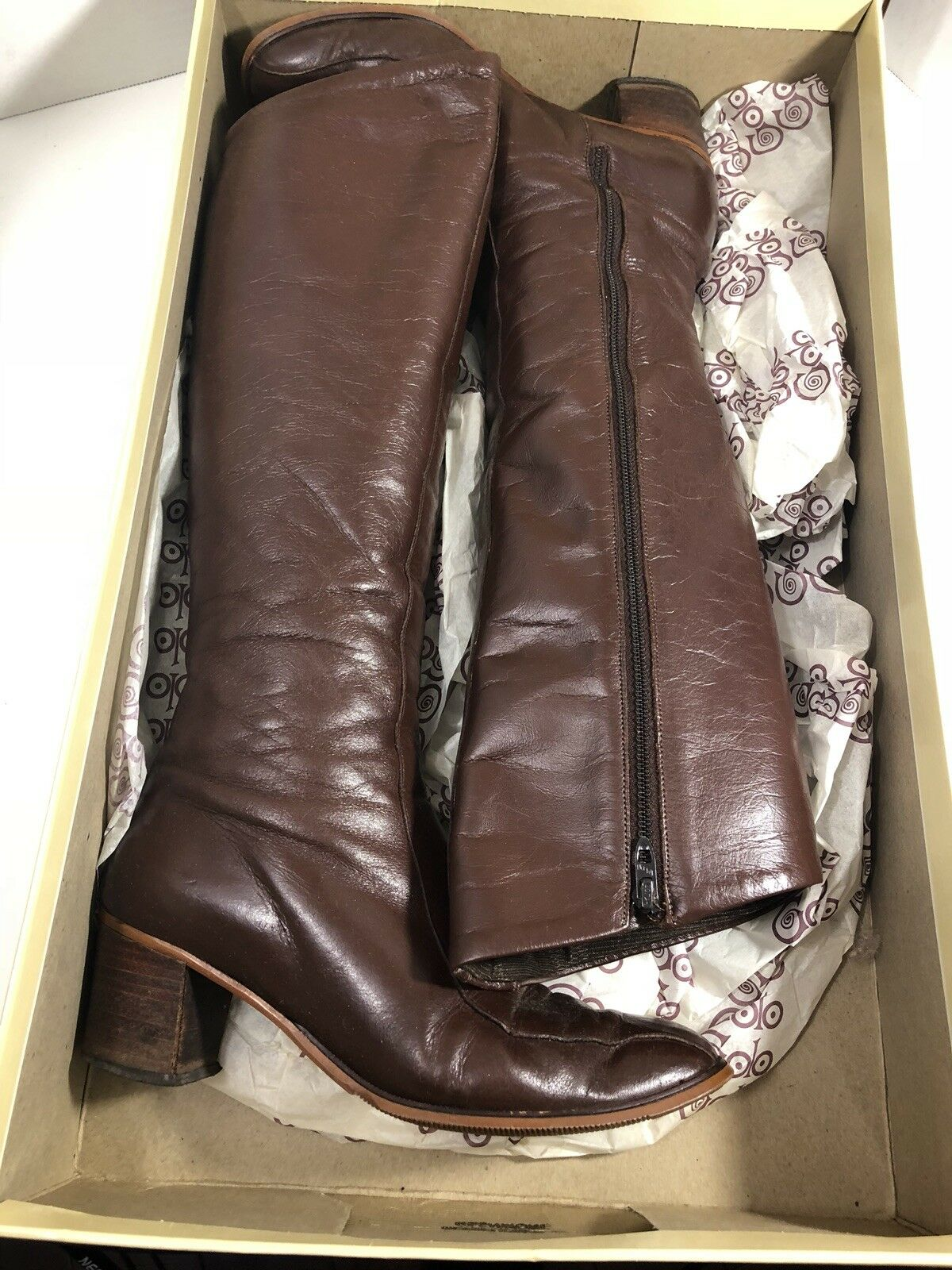 Golo Tall Riding Boots Glenmore Brown Leather Zipper Side 2  Heel SZ 6.5 w box
