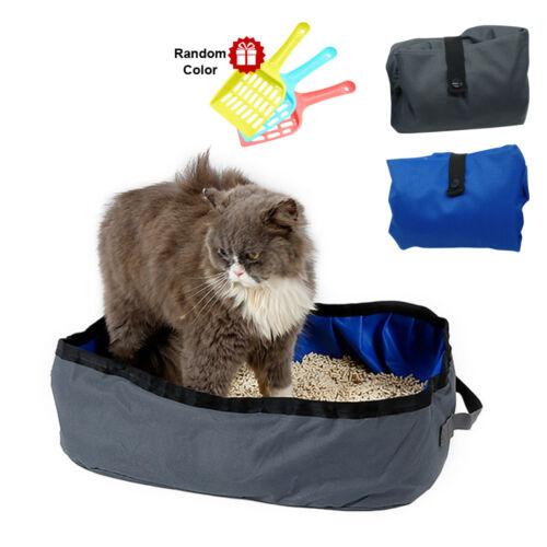 Foldable Cat Little Box Kitten Waterproof Pet Pan for Travel Easy Clean 2 Colors