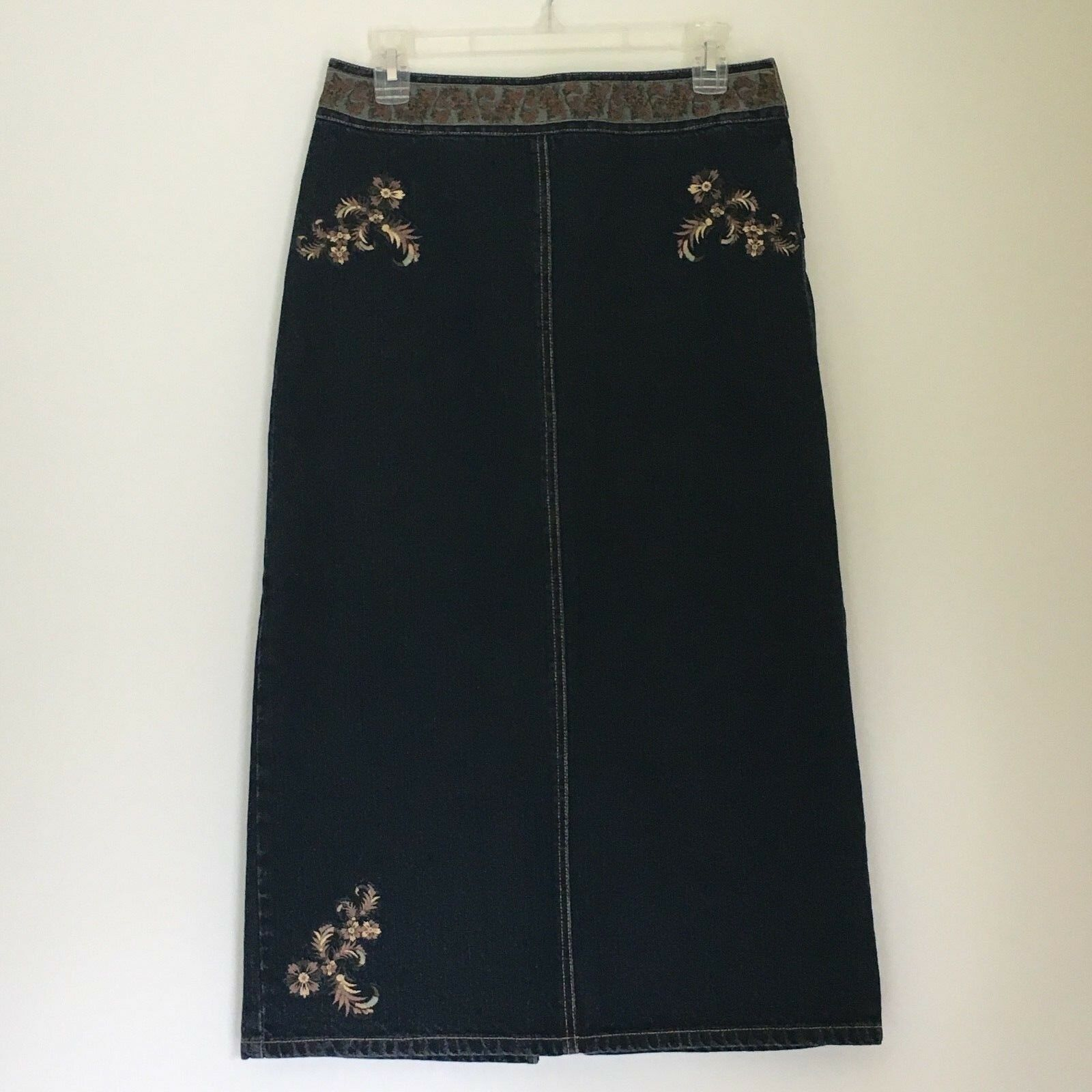 Willi Smith Womens Denim bluee Jean Skirt  Size 6 Long Maxi Pencil Embroidery