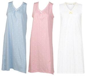 Image is loading Nightdress-100-Cotton-Dobby-Dot-Sleeveless-Nightgown-Womens - 0d943227b