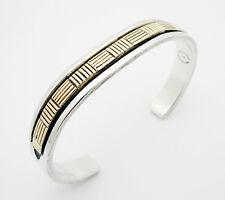 "Bruce Morgan Navajo 7"" Cuff Bracelet in 14k Gold & Sterling Silver"
