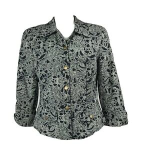 COLDWATER CREEK Black White Snap Button 3/4 Sleeve Jacket Womens Size 8
