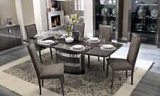 Luxus Esstisch 200+45 cm in Rauchgrau Hochglanz Modern Italia Stilmöbel