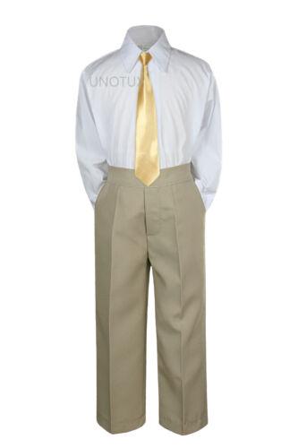 Baby Toddler Kid Boys Wedding Formal 3pc Set Shirt Khaki Pants Necktie Suit S-7