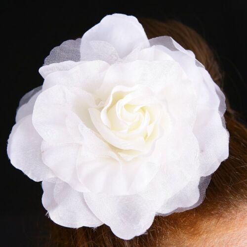 Tessuto Rose Fiore Ivory Bianco Fiore Spilla ansteckblume Fascinator Capelli Gioielli