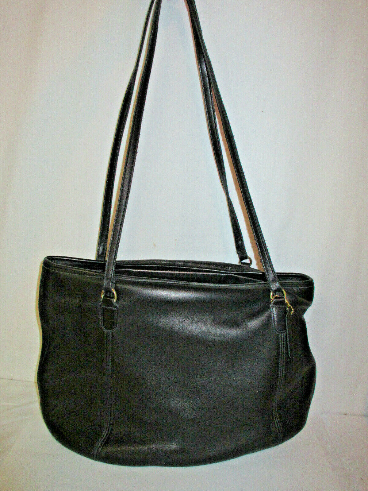 Vtg COACH 9998 Black Leather Large Framed Pouch H… - image 1