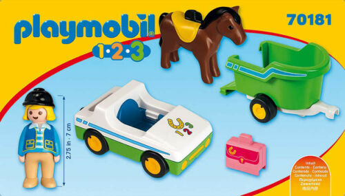 Playmobil 1.2.3 Car with Horse Trailer 70181 for Kids 18 months and up