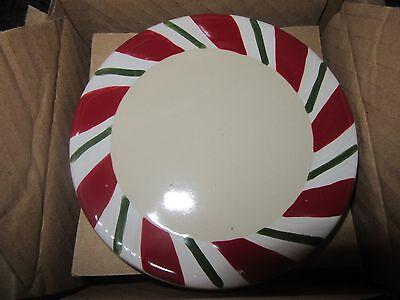 Longaberger Set of Four 4 Peppermint Twist Coasters Red Green Stripe