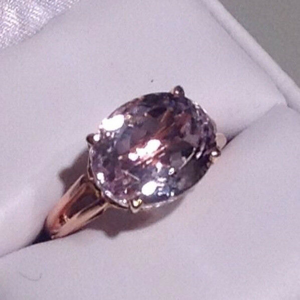 BEAUTIFUL RARE AAA PINK KUNZITE RING IN 14k pink & YELLOW gold SETTING SIZE 6