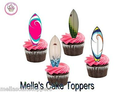 Novelty Surf Board Mix 12 Edible Stand Up Cupcake Toppers, Fairy Cake Bun