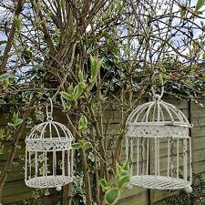 Beige Baby Bird Cage Garden Candle Holders In Shabby Chic Vintage Style
