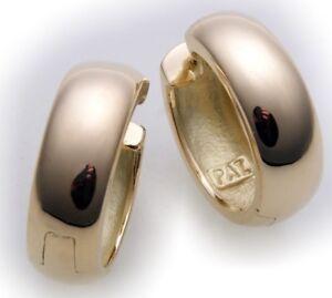 Neu-Damen-Ohrringe-Klapp-Creolen-echt-Gold-585-gewoelbt-16-mm-Gelbgold-14-karat