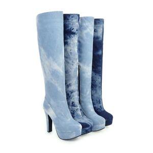 d2304994e1a5 Women s Denim Zip-Up Knee High Heel Boots Platform Round Toe Big ...