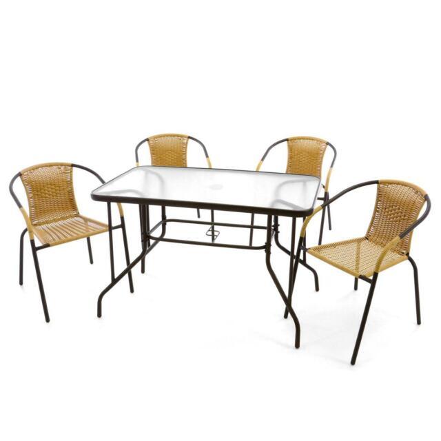 5er Bistroset Garnitur Sitzgruppe Gartengarnitur Glastisch eckig beige Balkonset