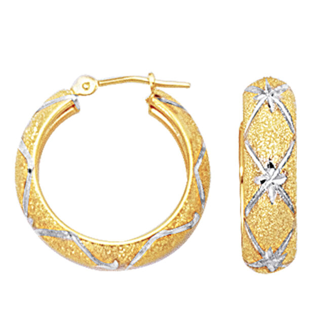 Fine Jewelry Diamond-Cut Hoop Earrings 2-Tone 10K Gold cViMi