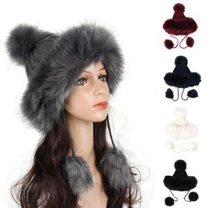 ALS-KF-Women-039-s-Hat-Winter-Faux-Fur-Double-Pom-Pom-Knit-Beanie-Ski-Cap-Bobble-U