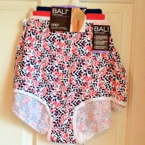 2466c8f5ea092 Details about Bali Size 10/3X Floral Asst. Cool Cotton Skimp Skamp Brief 3  Pack A332