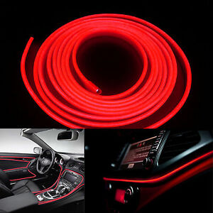 5m 12v Red Neon Led Light Glow El Wire Car Interior Deco Lamp Strip Rope Tube Ebay