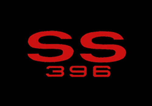 1966-1967 Chevelle Floor Mats Black Carpet Embroidered SS 396 logo RED Set NEW