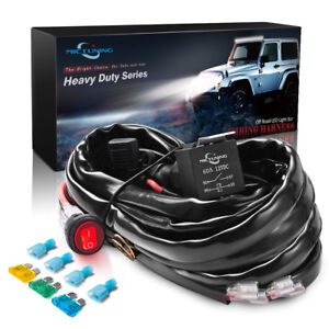 MICTUNING 600W LED Light Bar Wiring Harness 60A Relay Fuse Waterproof  switch Red | eBay  eBay