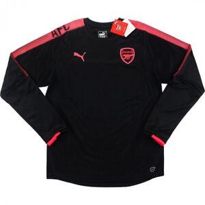 online retailer 57dba b5d4f Details about Arsenal Puma Mens Training Top Black Pink Crew Neck Football  Sweatshirt 2017-18