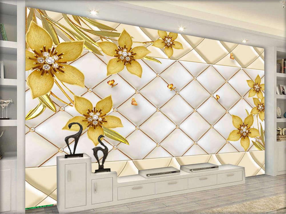 Gold Noble Flowers 3D Full Wall Mural Photo Wallpaper Printing Home Kids Decor