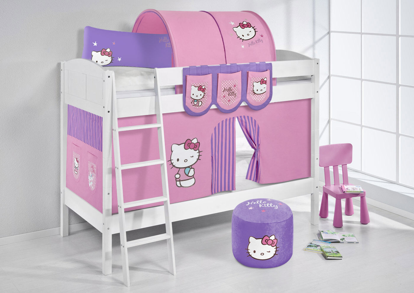 Superposé surelevé spielbett Ida divisible 4106 NOUVEAU LILOKIDS Hello Kitty violet
