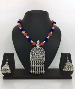 Antique-Oxidized-Necklace-Earrings-Indian-Diwali-Jewelry-Silver-Metal-Bollywood