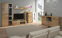 Living Room Furniture Set Oak Colour Cabinet Tv Shelf Entertainment Unit