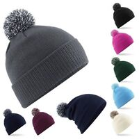 Mens Ladies Slouch Turn Up Warm Knitted Oversized Beanie Hat  - Brand New