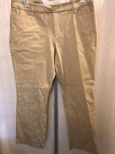 St John's Bay Khaki Pants 16p Straight Leg Cotton Stretch 200820