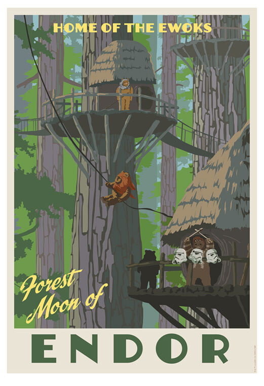 Star Wars Return of Jedi Endor Ewoks Vintage Travel Poster Art Giclée on Paper