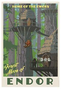 Star-Wars-Return-of-Jedi-Endor-Ewoks-Vintage-Travel-Poster-Art-Giclee-on-Paper