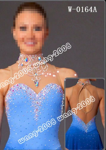 blueE Marvellous Ice Skating Figure skating Dress Gymnastics Dance Costume Y106