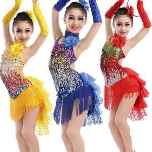 Image is loading Sequined-Girls-Latin-Dancewear-Costumes-Kids-Children-039- 77104fb8aaf1