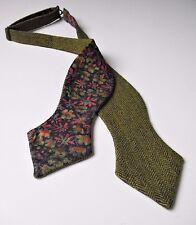 Green Wool Tweed Herringbone Self tie Bow tie/Liberty print lining