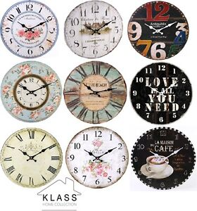 Shabby-Chic-Large-Vintage-Rustic-Retro-French-Wall-Clocks-Home-amp-Kitchen-Range