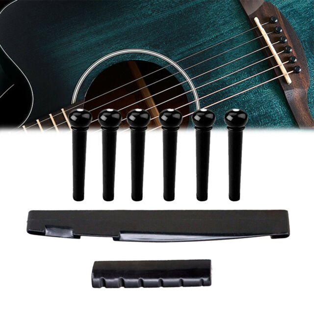 1Set Black Portable Acoustic Guitar Bridge Saddle Pins Nut Parts ABS Plastic New