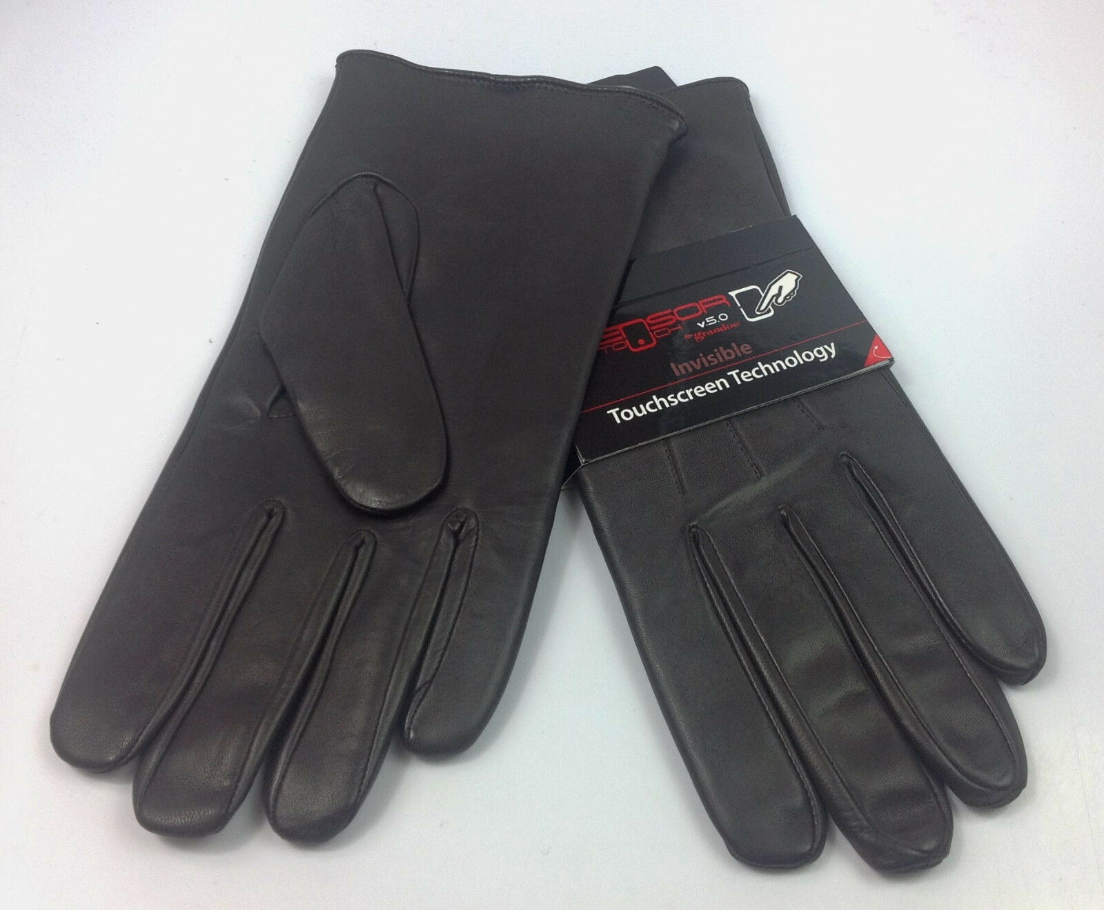 Men's Brown Leather Gloves Grandoe Touchscreen Tech LG