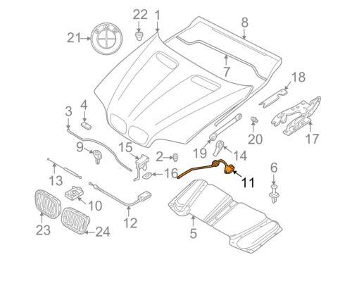BMW Nuovo Originale X5 E53 Cofano Motore Anteriore Sblocco Cavo Guida a Sinistra