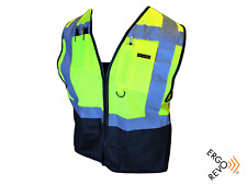 High Visibility Reflective Safety Vest Ppe Black Yellow Size Xl
