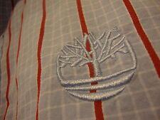 Timberland Short Sleeve Shirt XL Blue White Check Plaid Red Striped 100% Cotton