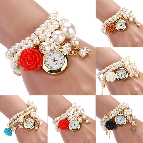 Women Cool Rose Flower Design Faux Pearl Round Dial Quartz Bracelet Wrist Watch